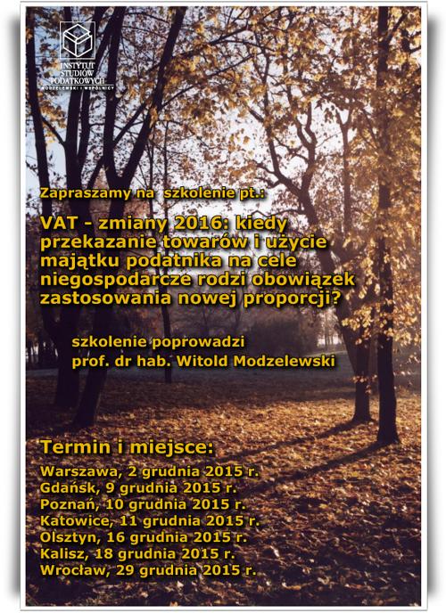 VAT - zmiany 2016