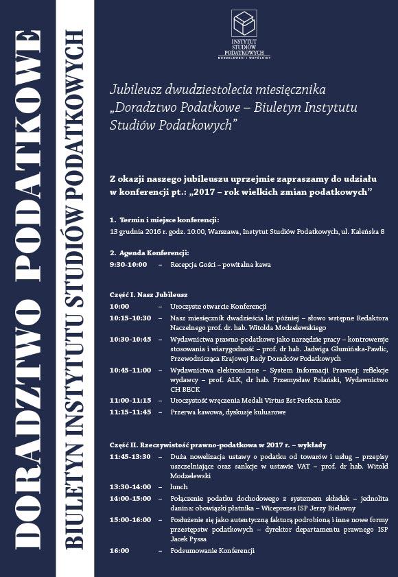 Zaproszenie na konferencję 20-lecia BISP